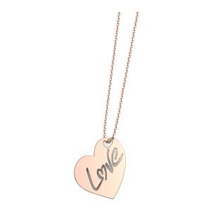 Collier Cœur Love L Diamant Or Rose