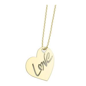 Collier Cœur Love XL Or Jaune
