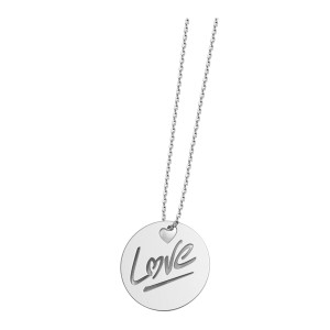Collier Rond Love L Or Blanc