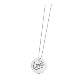 Collier Rond Love S Or Blanc