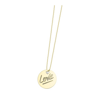 Collier Rond Love S Or Jaune