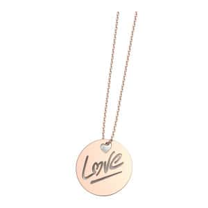 Collier Rond Love L Or Rose