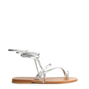 Sandales Ellada Cuir Lame Argenté