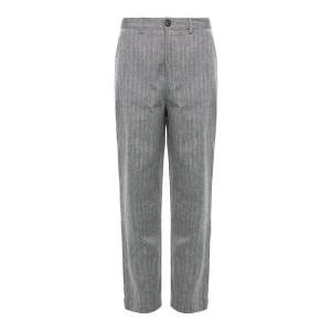 Pantalon Axel Lin Coton Imprimé Chevrons Gris