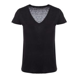 Tee-shirt Lisa Col V Lin Noir