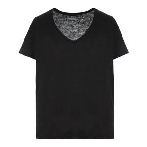 Tee-shirt Col V Lin Noir
