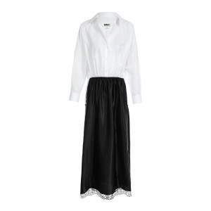 Robe Coton Popeline Noir Blanc