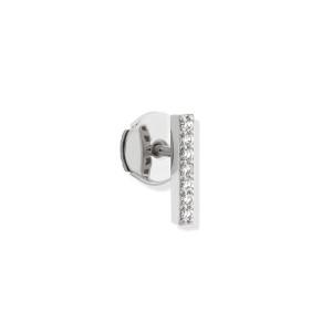 Boucle d'oreille Hash Barrette Diamants Or Blanc (vendue à l'unité)