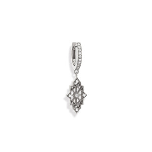 Mini Créole Nour Diamants Or Blanc (vendue à l'unité)
