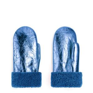 Moufles Laine Bleu Métallique