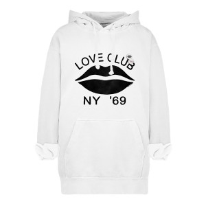 Sweatshirt Hoodie Love Club Coton Écru