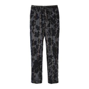 Pantalon Adana Soie Imprimé Floral Noir Marron