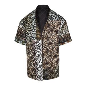 Kimono Réversible Trapuntato Imprimé Léopard Marron