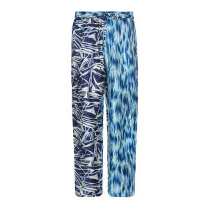 Pantalon Aloe Soie Imprimé Blanc Bleu