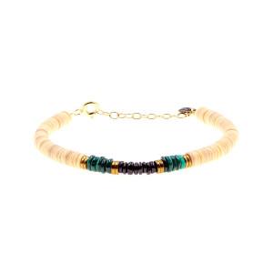 Bracelet Puka Coquillage Malachite Onyx