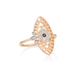 Bague Ajna Large Saphir Diamants Or Rose