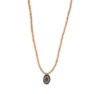 Collier Eclat Médaille XS Argent Noir Hématite Rose