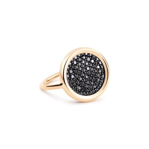 Bague Mini Disc Or Rose Diamants Noirs