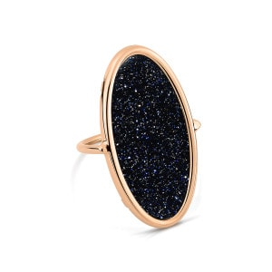 Bague Ellipse Blue Sand Stone Or Rose
