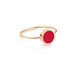 Bague Ever Mini Disc Or Rose Corail