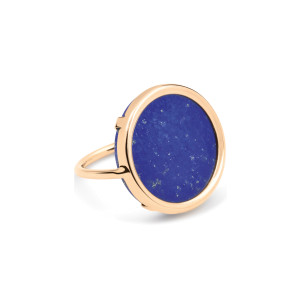 Bague Disc Or Rose Lapis Lazuli