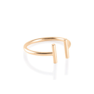 Bague Gold and Diamond Strip Ouverte
