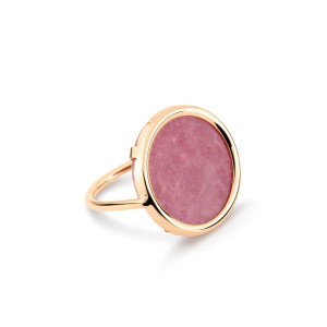 Bague Disc Or Rose Rhodonite