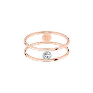 Bague Hula Hoop Diamant 0,10 Or Rose