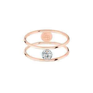 Bague Hula Hoop Diamant 0,20 Or Rose