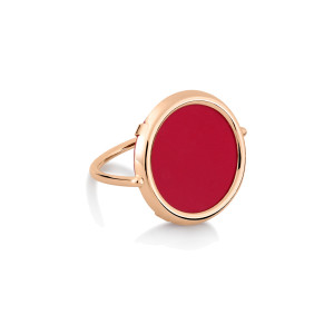 Bague Maria Disc Or Rose Corail