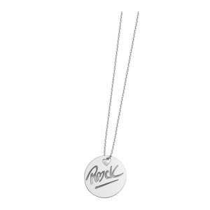 Collier Rond Rock S Or Blanc
