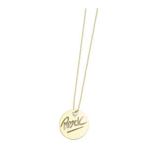 Collier Rond Rock S Or Jaune