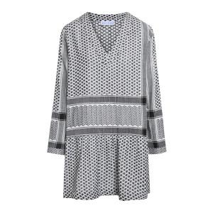 Robe Enta Coton Brodé Noir Blanc