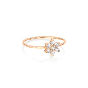 Bague Star Single Diamants Or Rose