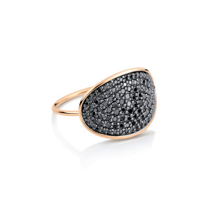 Bague Ellipses & Sequins Large Or Rose Diamants Noirs