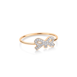 Bague Tiny Diams Bow Or Rose Diamants
