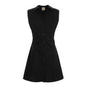 Robe Épaulettes Coton Noir