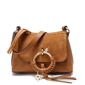 Sac Joan Mini Double Cuir Caramel