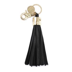 Porte-clés Pompon Cuir Noir