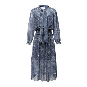 Robe Longue Imprimé Blanc Bleu