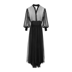 Robe Romane Soie Noir