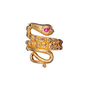 Bague Serpent Diamants Rubis Plaqué Or