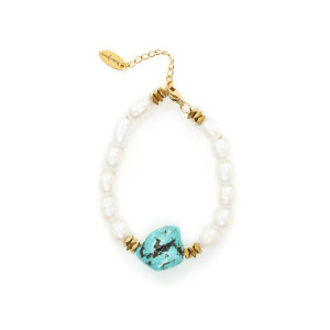 Bracelet Perles Turquoise Plaqué Or