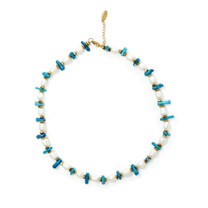 Collier Perles Turquoise Plaqué Or