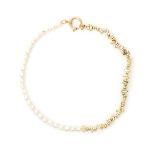 Collier Iji Perles Hématite Plaqué Or