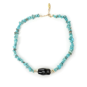Collier Urika Turquoise Perles Pierre Noir