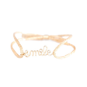Bracelet Cordon Lurex Smile Gold Filled