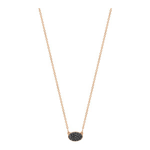 Collier Ellipses & Sequins Mini Or Rose Diamants Noirs