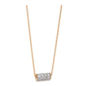 Collier Straw Mini Or Rose Diamants
