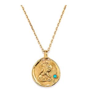 Collier Talisman Mini Astro Lion Turquoise